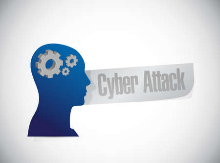 cyber attack: cyber attack thinking sign concept illustration design graphic Illustration