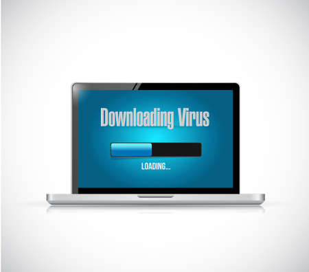 downloading: downloading virus on a computer. illustration design graphic