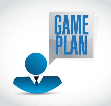 Game plan businessman sign concept illustration design graphic Vettoriali