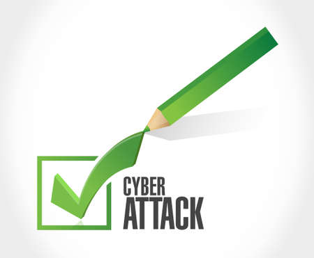 cyber attack: cyber attack check mark sign concept illustration design graphic