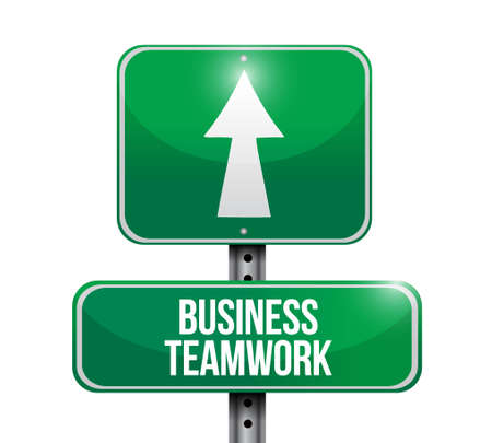 business teamwork road sign concept illustration design graphic