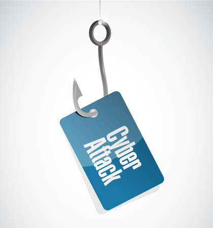 cyber attack: cyber attack hook sign concept illustration design graphic Illustration