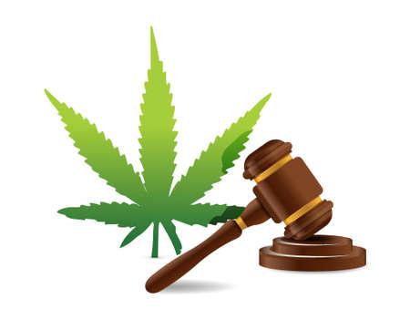 marihuany zákon kladivo ilustrační výprava kreslený ikonu