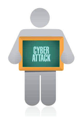 cyber attack: cyber attack board sign concept illustration design graphic