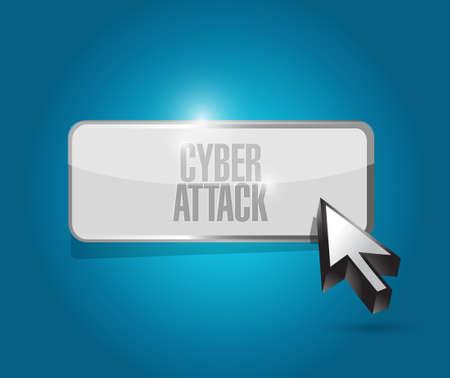cyber attack button sign concept illustration design graphic Illusztráció
