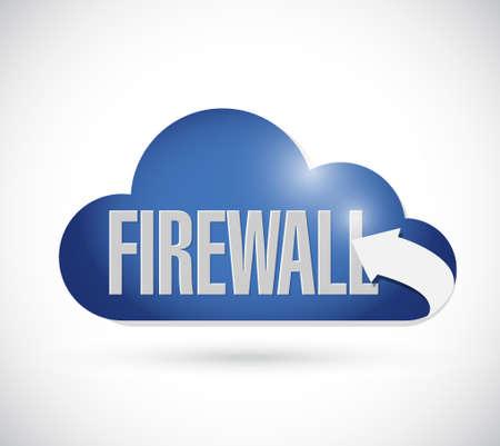 adware: firewall cloud sign concept illustration design graphic Illustration