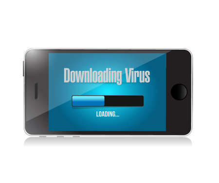 display problem: downloading virus on a phone. illustration design graphic