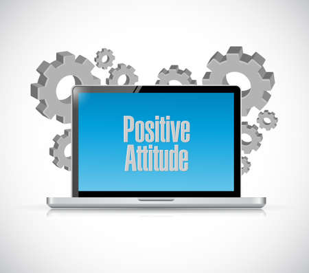 positive attitude: Positive attitude laptop computer sign concept illustration design graphic
