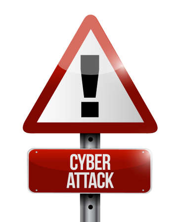 the attack: cyber attack warning sign concept illustration design graphic