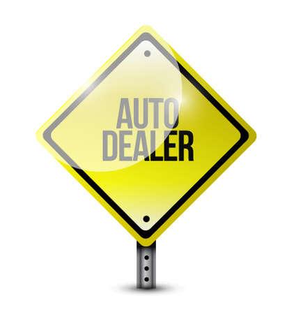 dealership: auto dealer yellow sign concept illustration design graphic