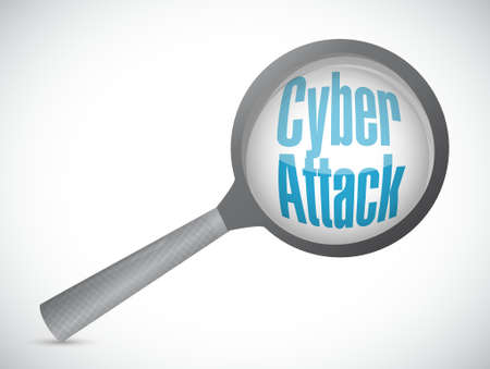 cyber attack: cyber attack magnify sign concept illustration design graphic