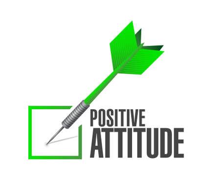 actitud: cheque actitud positiva señal de dardos ilustración del concepto de diseño gráfico Vectores