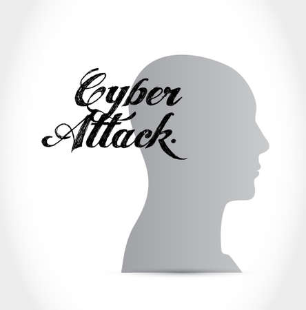 cyber attack: cyber attack mind sign concept illustration design graphic