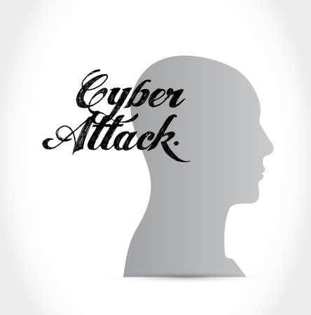 cyber attack mind sign concept illustration design graphic