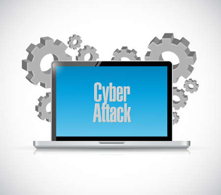 cyber attack: cyber attack laptop sign concept illustration design graphic Illustration