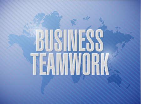businessteam: business teamwork world map sign concept illustration design graphic Illustration