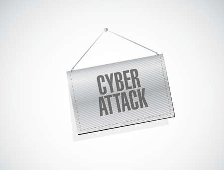 cyber attack: cyber attack banner sign concept illustration design graphic