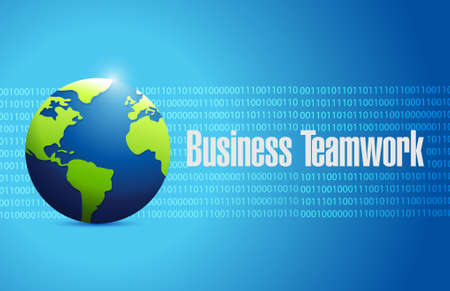 binary globe: business teamwork binary globe sign concept illustration design graphic