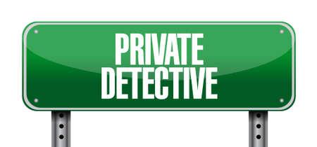 private detective road sign concept illustration design graphic