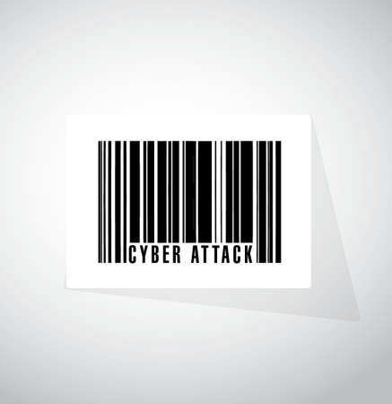 cyber attack: cyber attack barcode sign concept illustration design graphic