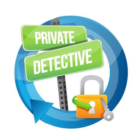 spotter: private detective lock road sign concept illustration design graphic