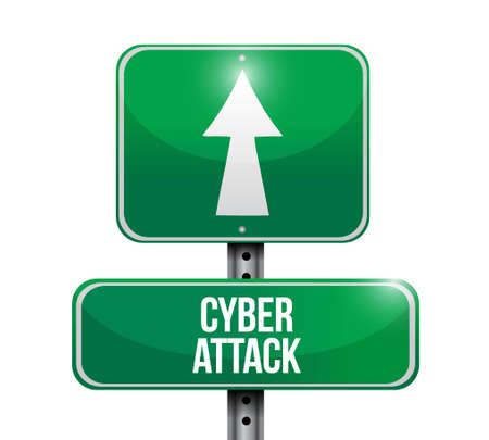 cyber attack: cyber attack road sign concept illustration design graphic