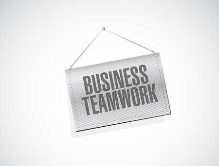 businessteam: business teamwork banner sign concept illustration design graphic Illustration