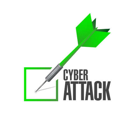 cyber attack: cyber attack check dart sign concept illustration design graphic