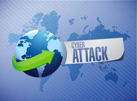 cyber attack: cyber attack international sign concept illustration design graphic