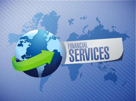 financial globe: financial services globe international sign concept illustration design graphic