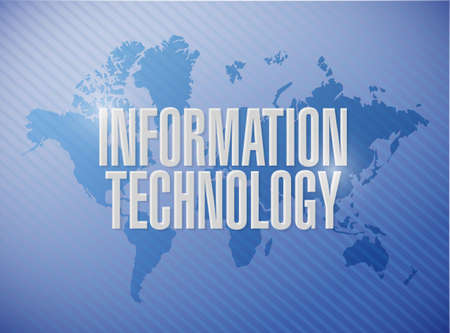 computer science: information technology world map sign concept illustration design graphic
