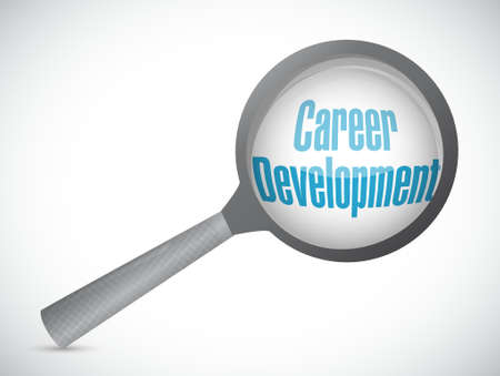 personal contribution: career development magnify review sign concept illustration design graphic
