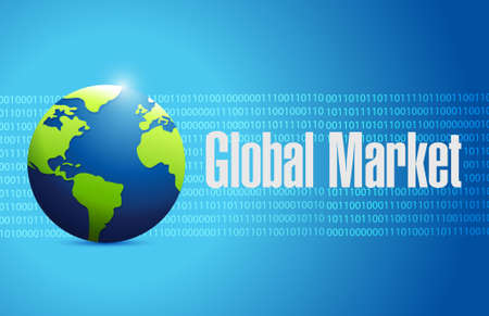 binary globe: global market binary globe sign concept illustration design graph Stock Photo