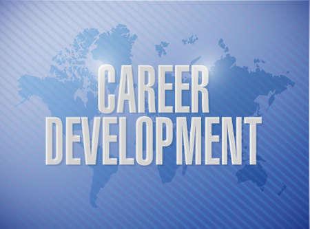 personal contribution: career development world map sign concept illustration design graphic