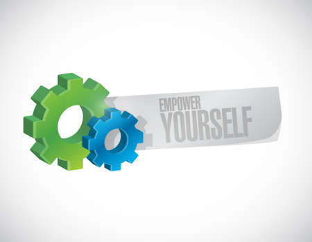 Empower Yourself gear paper sign concept illustration design graphic
