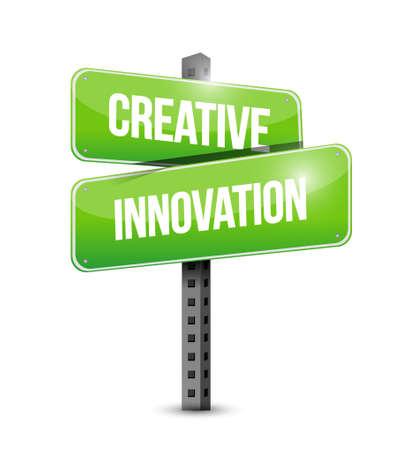 business leadership: Creative Innovation street sign concept illustration design Illustration