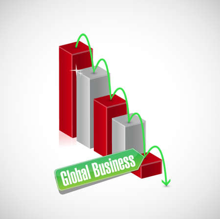 globális üzleti: global business falling graph sign concept illustration design graphic