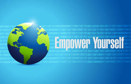binary globe: Empower Yourself international binary globe sign concept illustration design graphic
