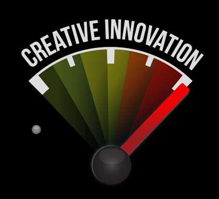 business innovation: Creative Innovation meter sign concept illustration design