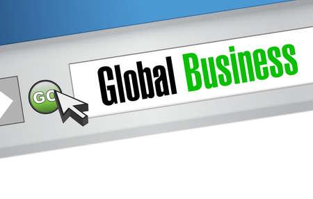 browser business: global business online browser sign concept illustration design graphic