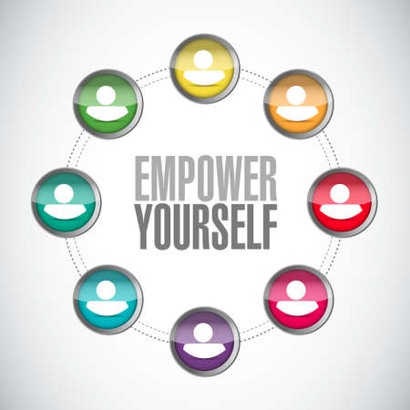 yourself: Empower Yourself connections sign concept illustration design graphic