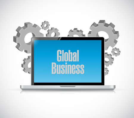 globális üzleti: global business tech computer sign concept illustration design graphic Illusztráció