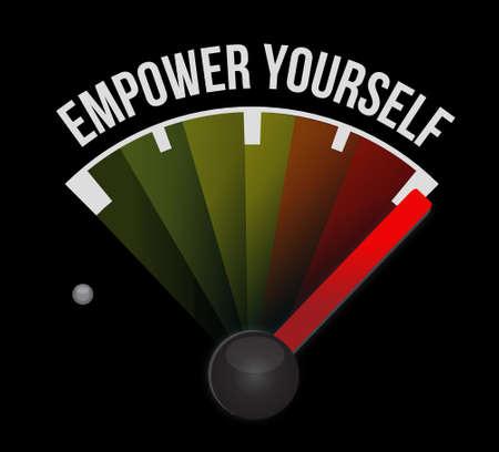 Empower jezelf meter begrip teken illustratie grafisch