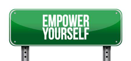 Empower Yourself landscape road sign concept illustration design graphic