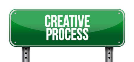 Kreativen Prozess Straßenschild Konzept, Illustration, Design Standard-Bild - 47320911