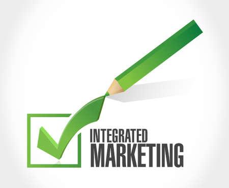 internet mark: Integrated Marketing check mark sign concept illustration design graphic icon