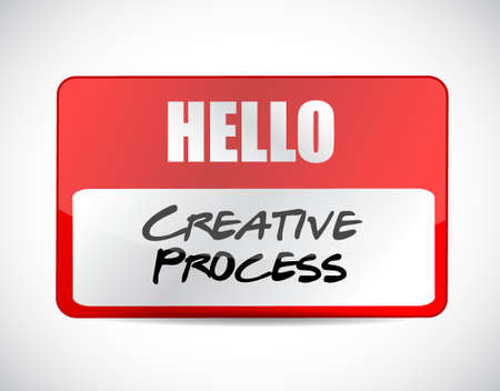 strategy meeting: creative process name tag sign concept illustration design