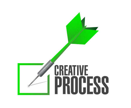 creative process check dart sign concept illustration design
