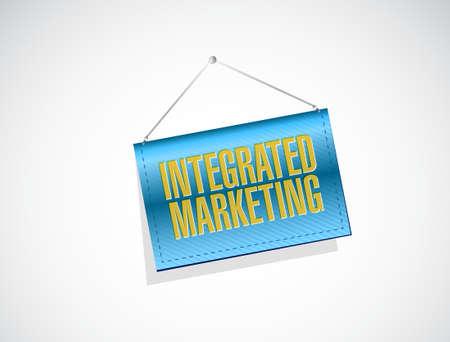 public market sign: Integrated Marketing banner sign concept illustration design graphic icon