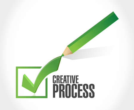 creative process check mark sign concept illustration design Ilustrace